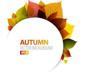 autumn leaves elements background vector set 05