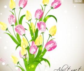 Pretty flower background vector graphic set 01