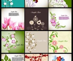 Pretty flower background vector graphic set 02