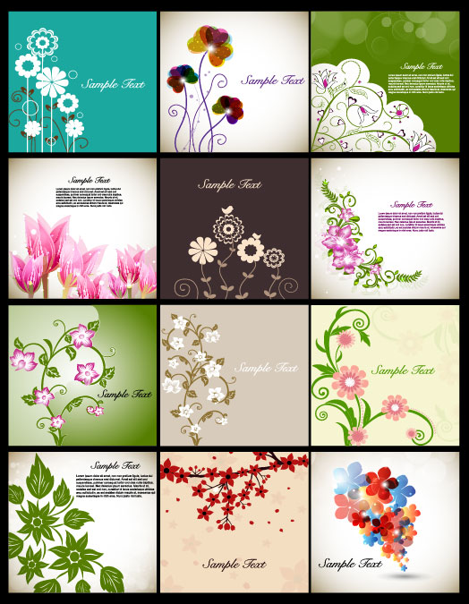 Pretty Flower Background Vector Graphic Set 02 Free Download