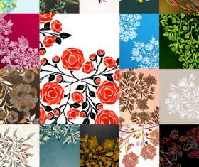 Elements of floral greeting cards vector set 01