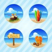 Link toDifferent summer seaside elements vector set 02