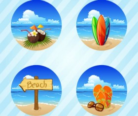 Different Summer Seaside elements vector set 02