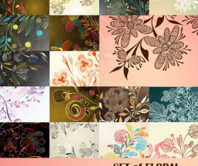 Elements of floral greeting cards vector set 02