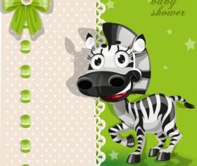 Cute cartoon Animal cards design vector 01