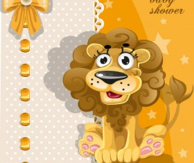 Cute cartoon Animal cards design vector 02