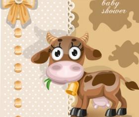 Cute cartoon Animal cards design vector 03