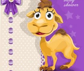 Cute cartoon Animal cards design vector 04