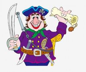 Funny Pirate cartoon vector graphic 03