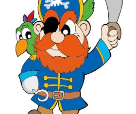 Funny Pirate cartoon vector graphic 04