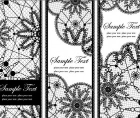Set of Old lace vector background art 02