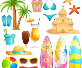 Different Summer Seaside elements vector set 04