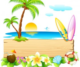 Summer travel in tropical design elements vector 01
