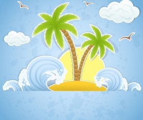 Summer travel in tropical design elements vector 02