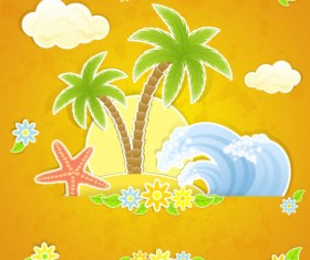 Summer travel in tropical design elements vector 04