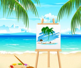 Summer travel in tropical design elements vector 05