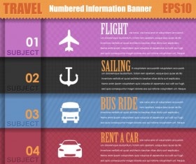 Set of Number of information banner vector graphic 02