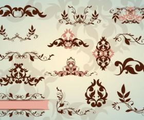 Floral Ornaments with lace vector 01