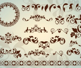 Floral Ornaments with lace vector 02