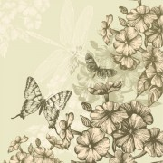 Link toHand drawn flower with butterflies and dragonflies vector set 01