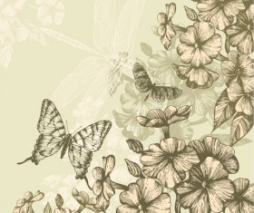 Hand drawn flower with Butterflies and dragonflies vector set 01