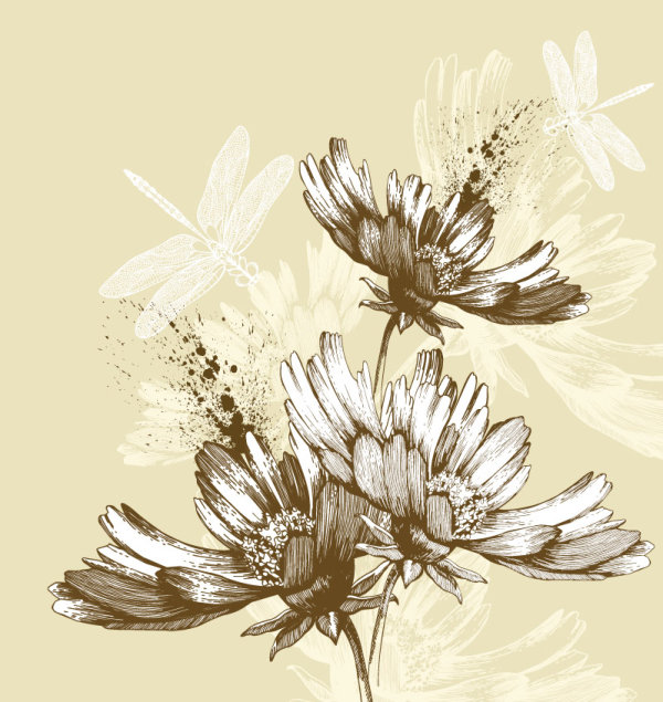 Hand drawn flower with Butterflies and dragonflies vector set 02