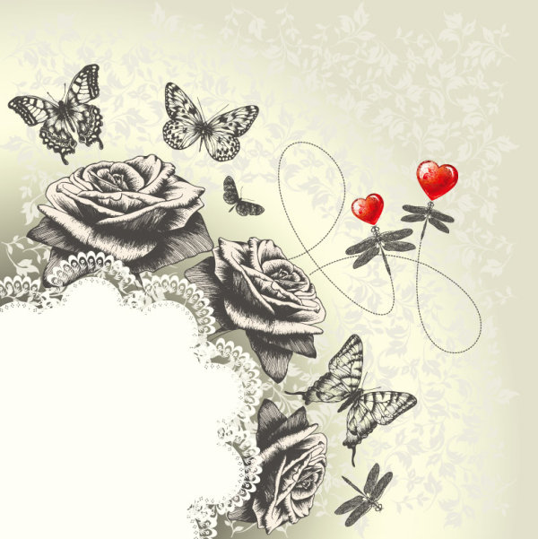 Hand drawn flower with Butterflies and dragonflies vector set 04
