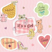 Link toCute baby frames with text label vector 01