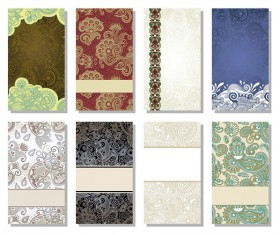 Floral Decorative pattern cards vector background 01