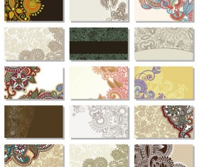 Floral Decorative pattern cards vector background 02