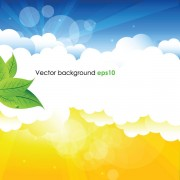 Link toSummer sun and green leaves vector background set 01