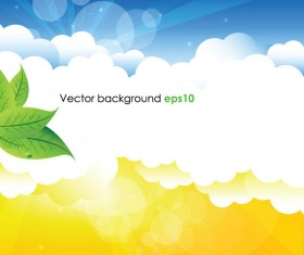Summer sun and green leaves vector background set 01