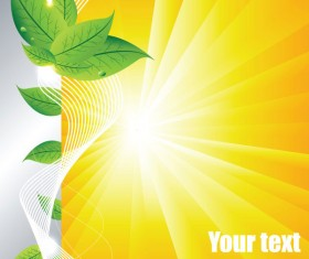 Summer sun and green leaves vector background set 02