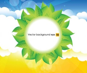 Summer sun and green leaves vector background set 03