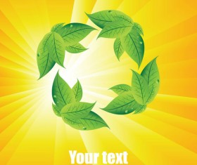 Summer sun and green leaves vector background set 04