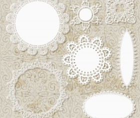 Hollow floral Ornaments and lace vector 01