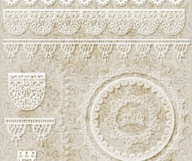 Hollow floral Ornaments and lace vector 02