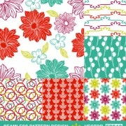 Link toSet of hand drawn seamless pattern design vector 04