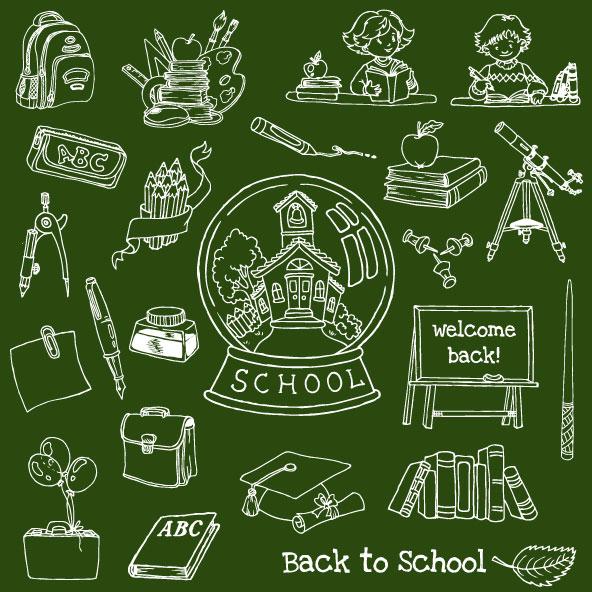 Hand drawn school elements vector set 01