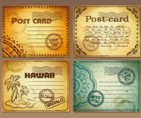 Set of Retro Post card design vector graphic 03