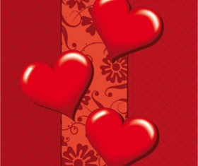 Romantic Heart Greeting Cards background vector set 02