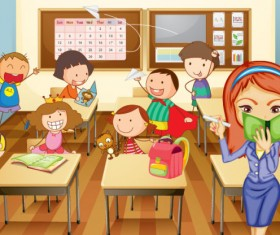 Set of Children in school design vector 02