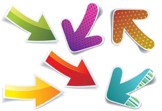 Different Arrow Stickers design elements vector