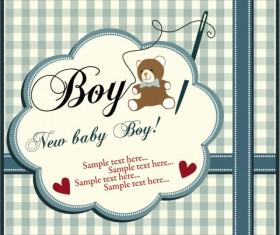 Elements of Cute New baby cards design vector 02