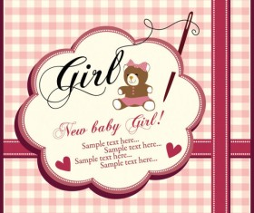 Elements of Cute New baby cards design vector 03