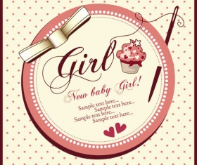 Elements of Cute New baby cards design vector 04