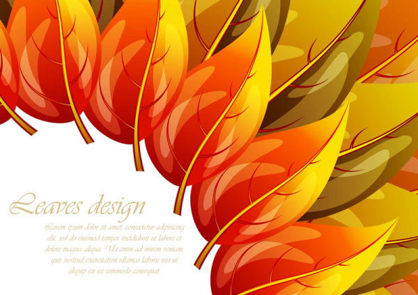 Red Leaves Background Vector Art 02