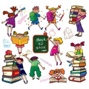 Link toSet of children in school design vector 03