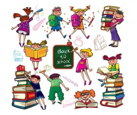 Set of Children in school design vector 03