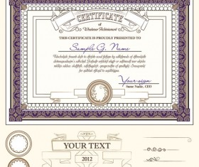 Certificate template and Decoration Borders design vector 01
